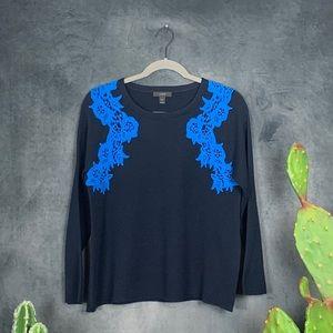 J. Crew Lace Applique Sweater Navy Blue Wool  F273